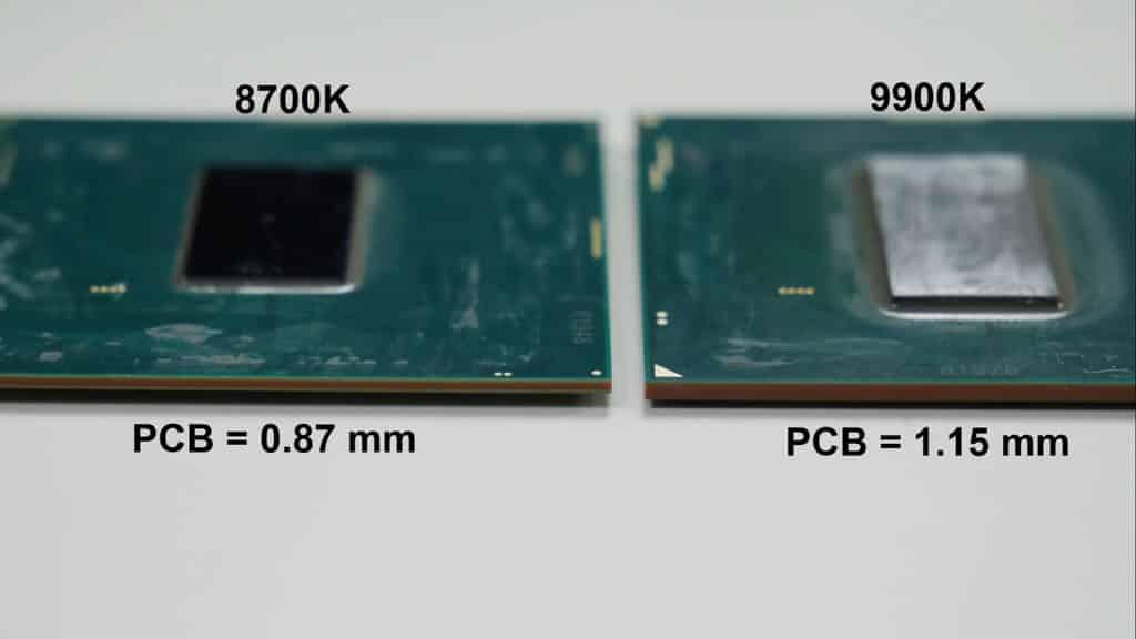 Comparaison de l'épaisseur du PCB entre 8700K et un 9900K