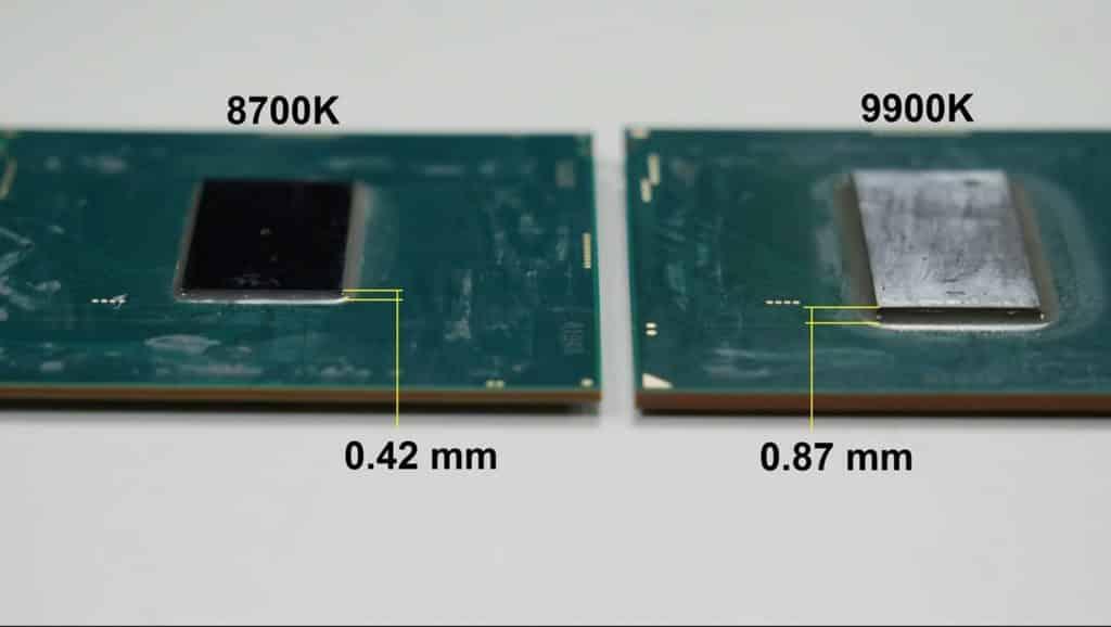 Comparaison de l'épaisseur du DIE entre 8700K et un 9900K