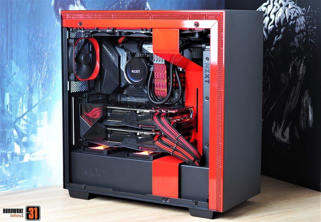 La configuration basé sur le NZXT H700i de notre article Intel DELID 9900K : procédure, test et réel utilité