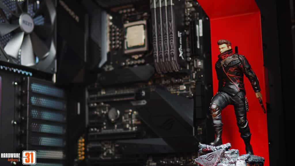 Asus ROG maximus XI utilisée dans la configuration de notre article Intel DELID 9900K : procédure, test et réel utilité