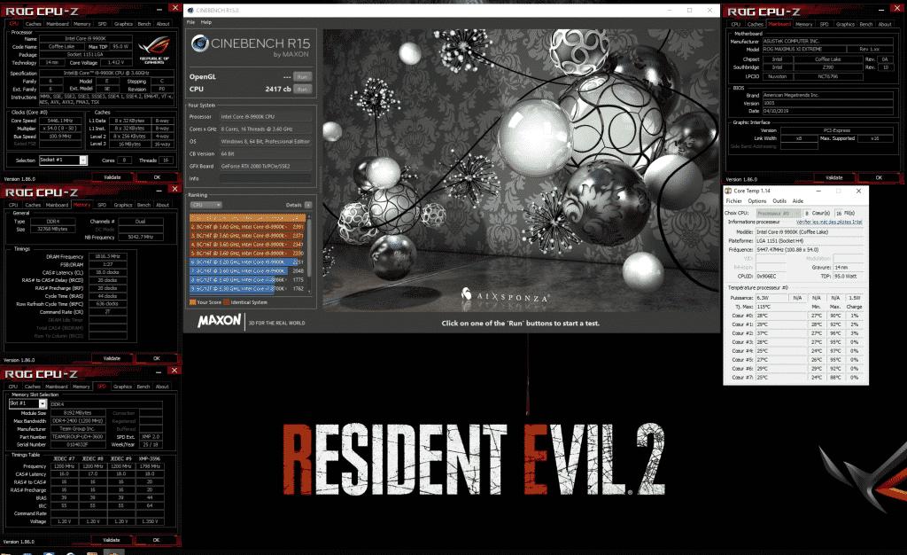 Resident evil 2 Evolv X cinebench 9900K