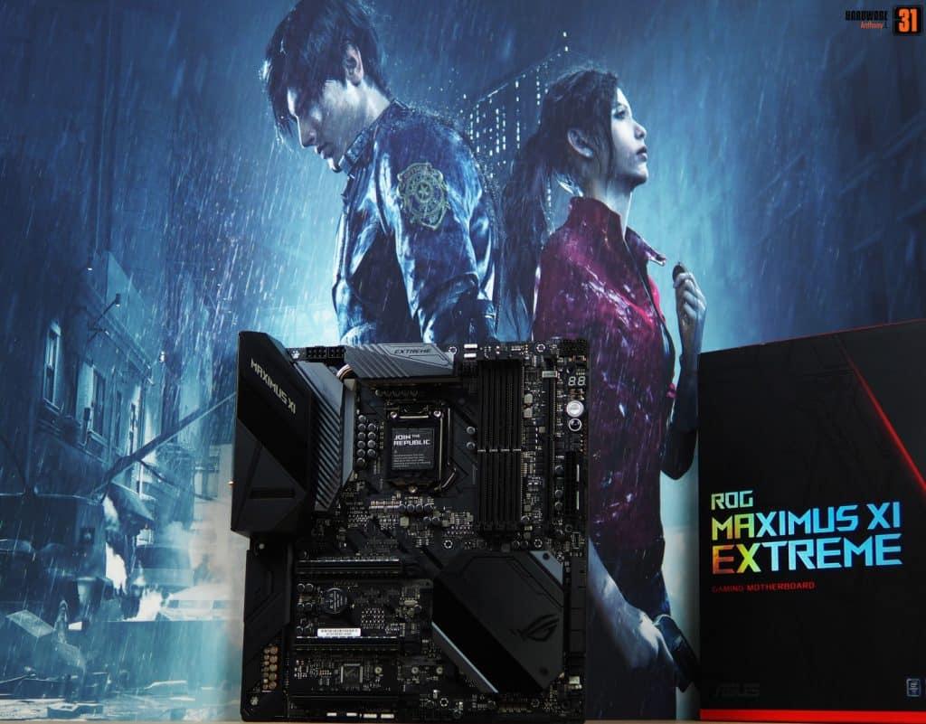 Shooting photos de la carte mère ROG Maximus Extreme XI pour le projet modding Resident Evil 2