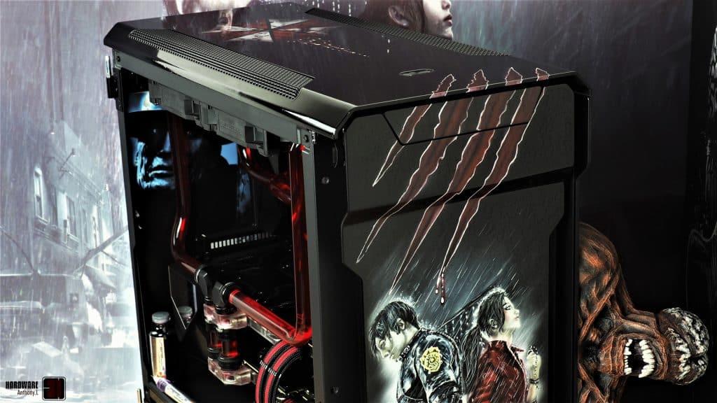 Phanteks Evolx X, ROG Strix 2080 Ti, 9900K, shooting final du projet modding Resident Evil 2