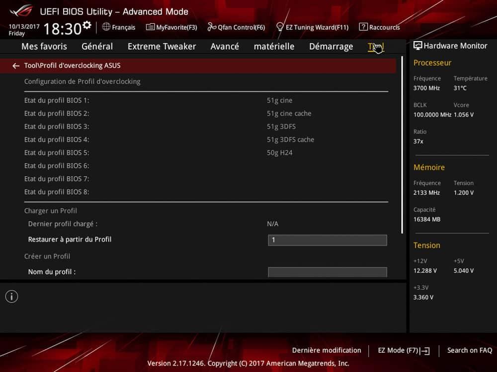 La configuration bios utilisé dans notre tutoriel DELID pour décapsuler votre processeur Intel en toute sécurité