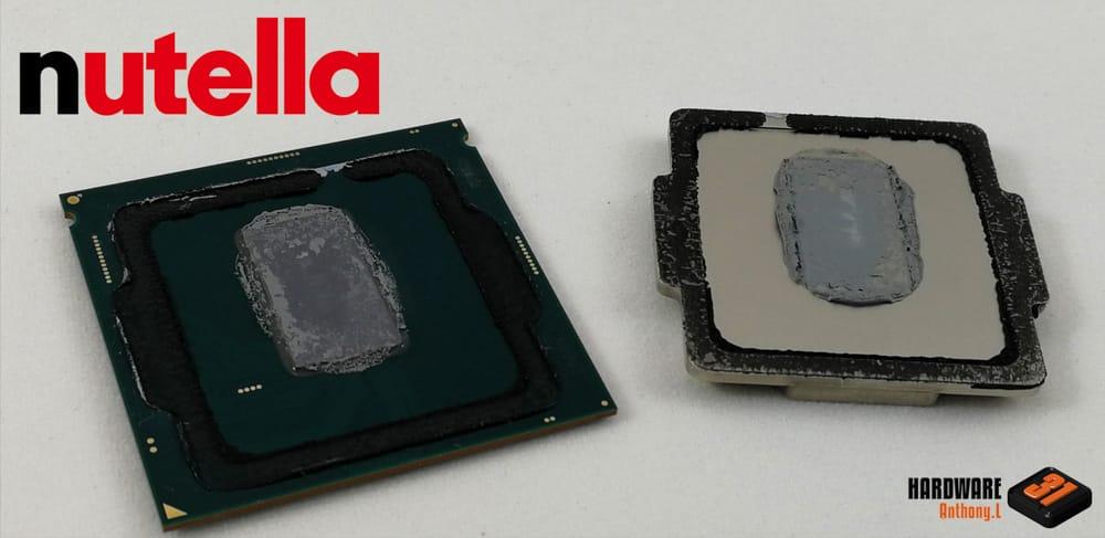 Piètre qualité de la pâte thermique d'origine vu dans notre tutoriel DELID pour décapsuler votre processeur Intel en toute sécurité