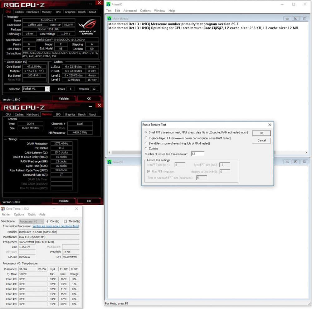 Lancement prime95 small FTT du mode auto Asus dans notre tutoriel DELID pour décapsuler votre processeur Intel en toute sécurité