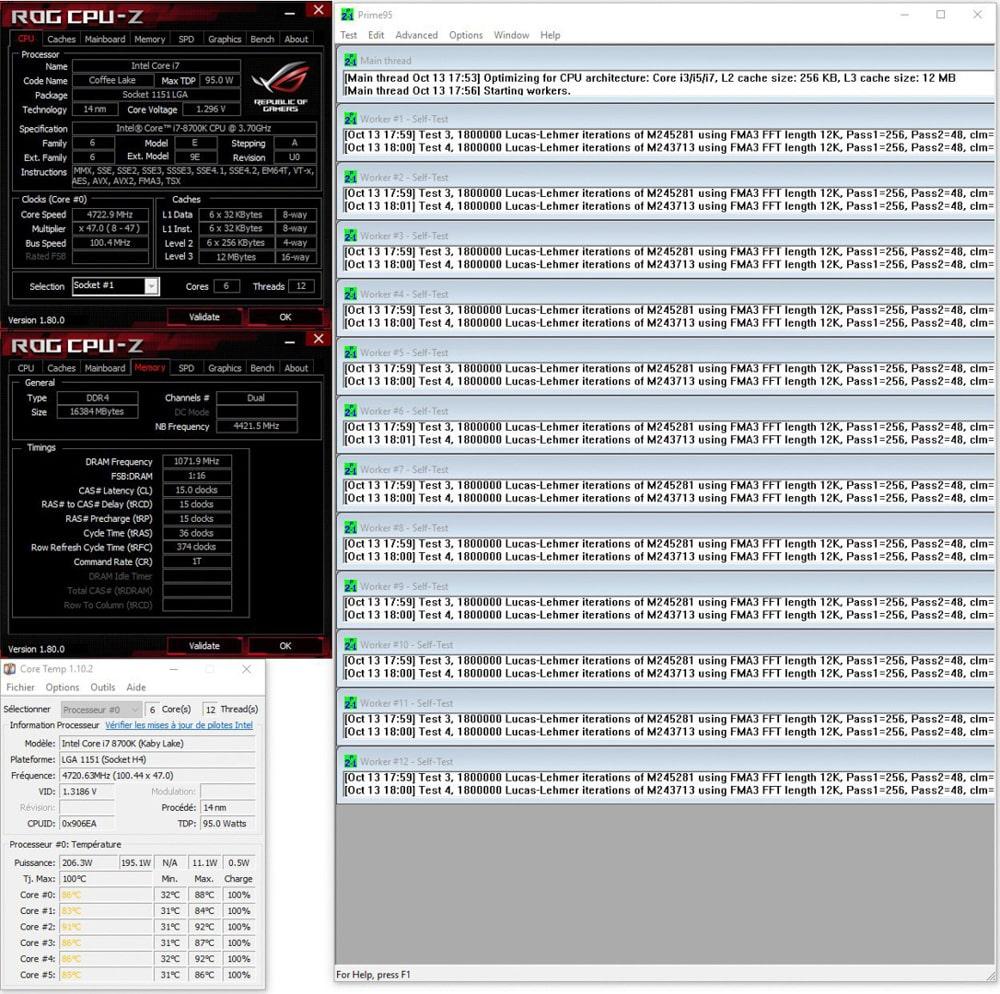 Résultat du prime95 small FTT du mode auto Asus avant DELID dans notre tutoriel DELID pour décapsuler votre processeur Intel en toute sécurité