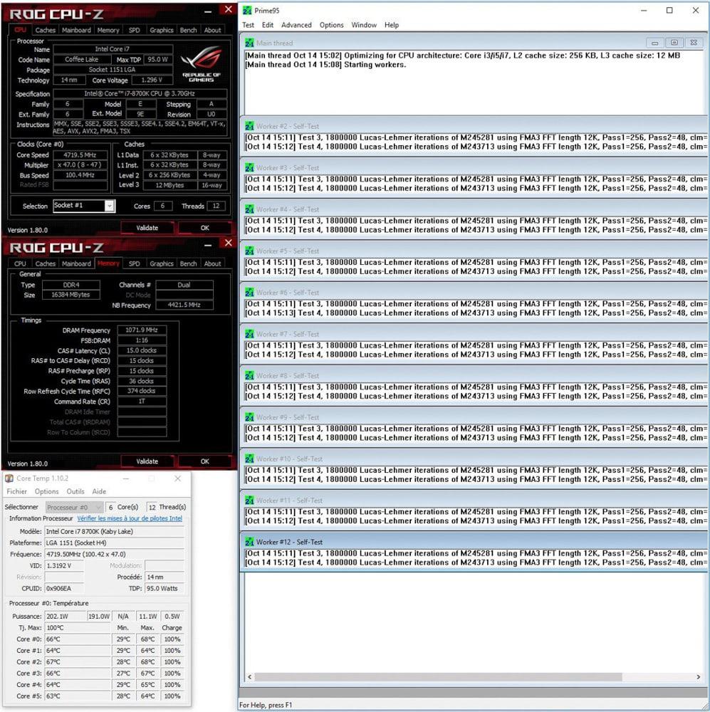 Résultat du prime95 small FTT du mode auto Asus après DELID dans notre tutoriel DELID pour décapsuler votre processeur Intel en toute sécurité