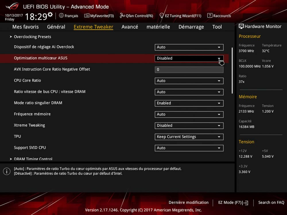Comment désactiver le mode auto Asus dans le bios de notre tutoriel DELID pour décapsuler votre processeur Intel en toute sécurité
