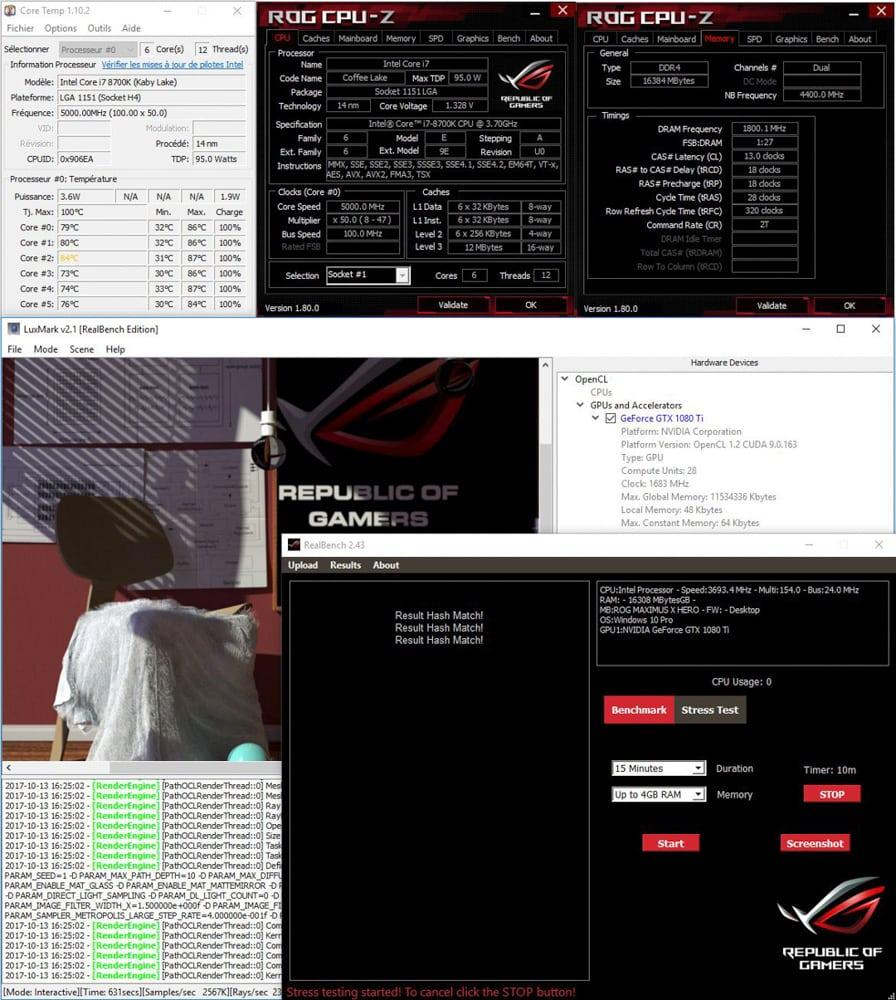 Résultat en mode H24 sur realbench avant DELID dans notre tutoriel DELID pour décapsuler votre processeur Intel en toute sécurité