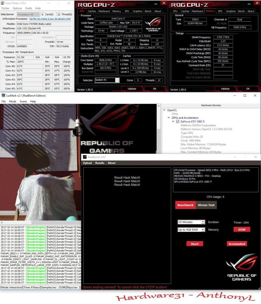 Résultat en mode H24 sur realbench après DELID dans notre tutoriel DELID pour décapsuler votre processeur Intel en toute sécurité
