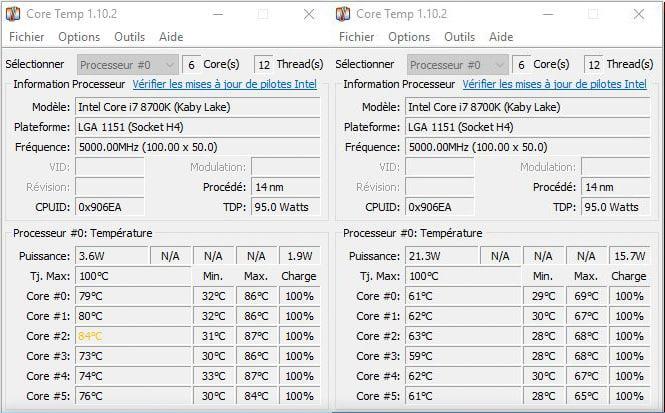 Comparatif des température avant/après DELID en mode H24 sur realbench dans notre tutoriel DELID pour décapsuler votre processeur Intel en toute sécurité