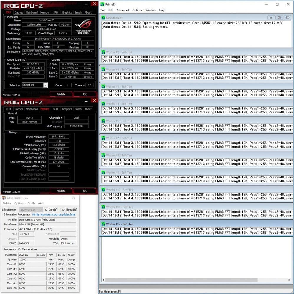 Résultat prime95 small ftt avant conductonaut sur IHS dans notre tutoriel DELID pour décapsuler votre processeur Intel en toute sécurité