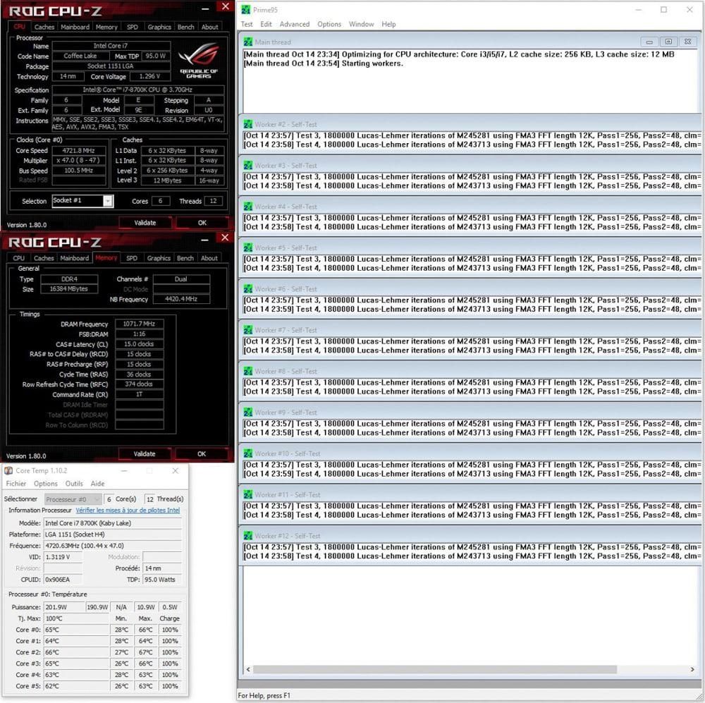 Résultat prime95 small ftt après conductonaut sur IHS dans notre tutoriel DELID pour décapsuler votre processeur Intel en toute sécurité