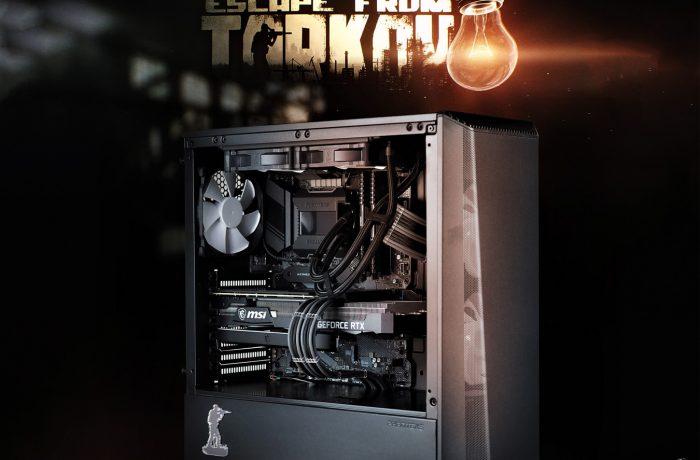 Montage client effectué avec le configurateur PC Hardware31 dans un Phanteks Eclipse P360A sur le thème d'Escape from Tarkov