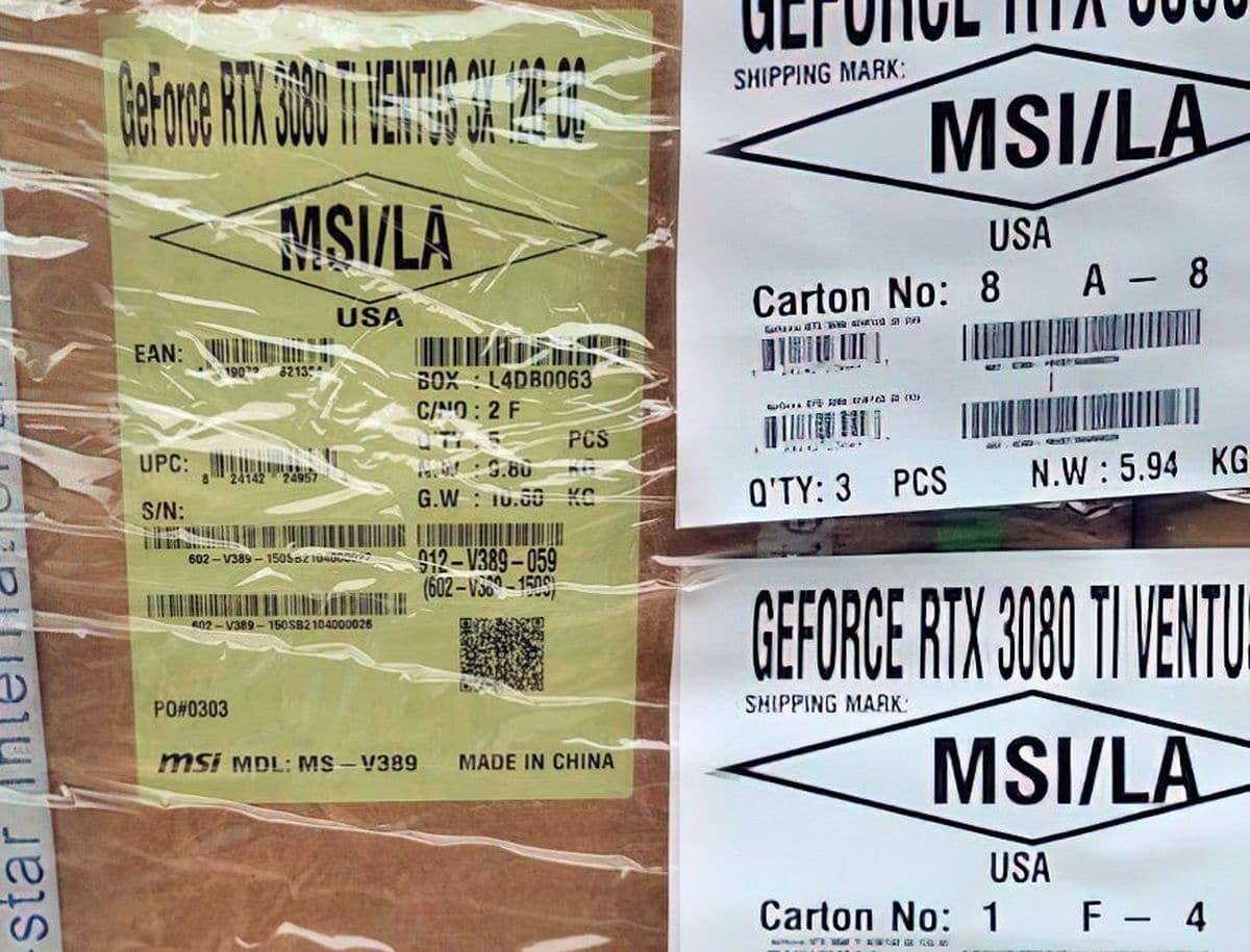 Carte Graphique MSI RTX 3080 Ti Ventus 3X 12 Go pendant son transport