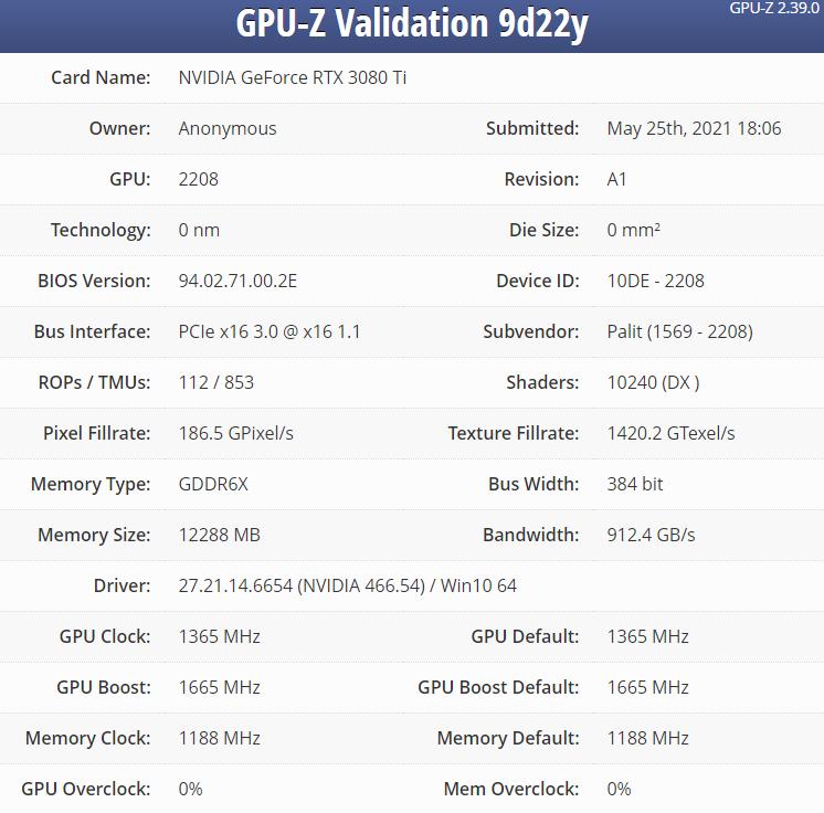 Les spécifications de la RTX 3080 Ti en fuite sur GPU-Z