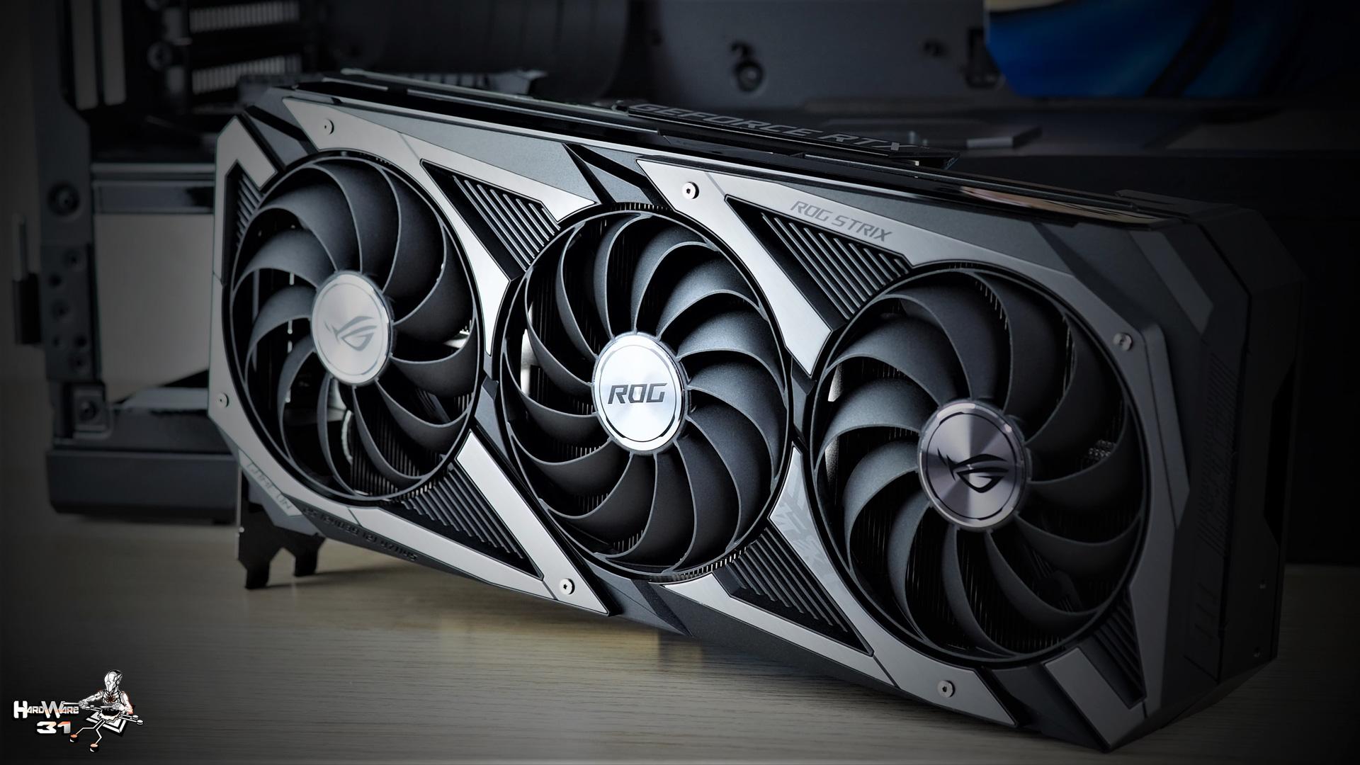 La carte graphique ASUS GeForce RTX 3080 ROG STRIX utilisée dans le projet Modding P600S Final Flash par Hardware31
