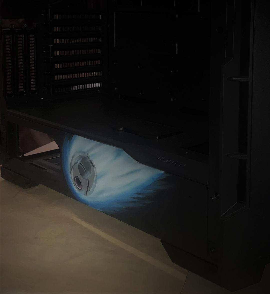 Réalisation du cache alimentation du PC Végéta P600S Final Flash à l'aérographe étape par étape