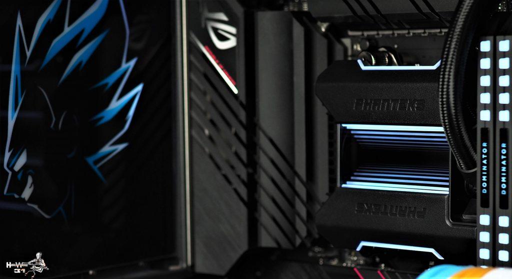 Le waterblock du PHANTEKS Glacier ONE 360 MP de notre PC DBZ à l'effigie de Végéta utilisé dans le projet Modding P600S Final Flash par Hardware31