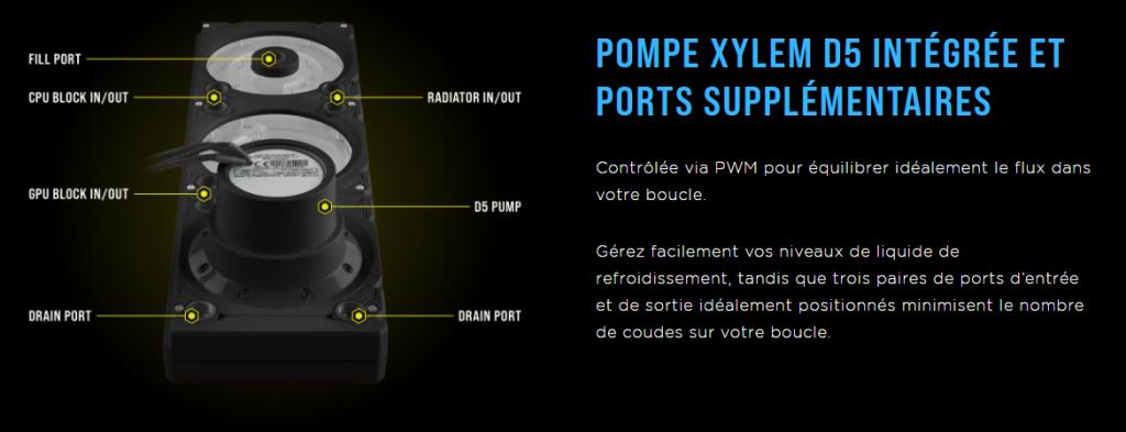 Corsair présente la distro/pompe Corsair Hydro XD7 RGB de la gamme X Series en Noir et ses caractéristiques