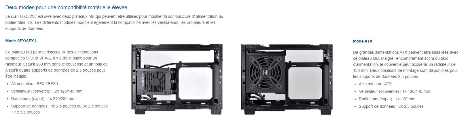 Lian Li présente le Q58 son mini boîtier pour format ITX et la disposition de l'alimentation